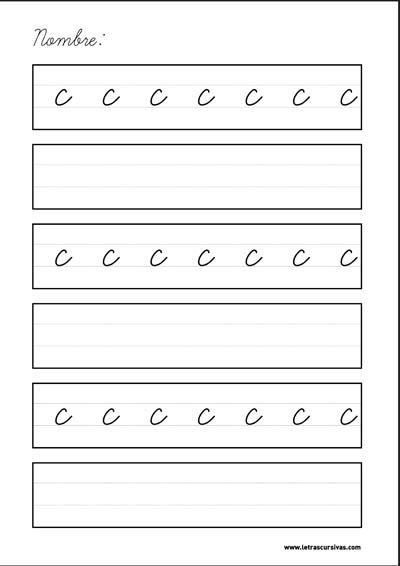plantilla escritura letra cursiva c