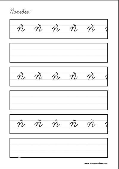 plantilla escritura letra cursiva ñ