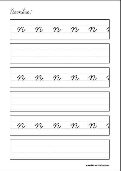 plantilla escritura letra cursiva n