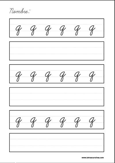 plantilla escritura letra cursiva q