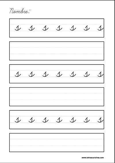 plantilla escritura letra cursiva s
