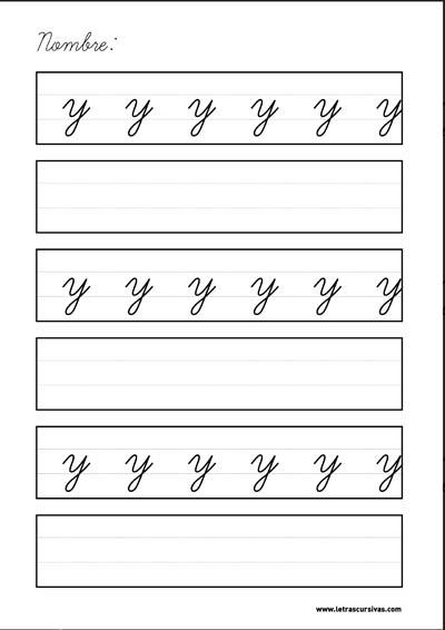 plantilla escritura letra cursiva y